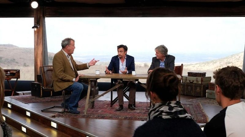 Jeremy Clarkson, Richard Hammond a James May v novém studiu v podobě stanu