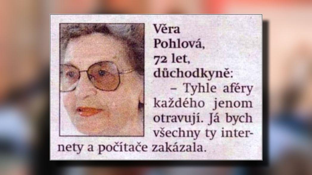 Důchodkyně se nezapomenutelně zapsala do historie internetu. Díky jedinému vyjádření