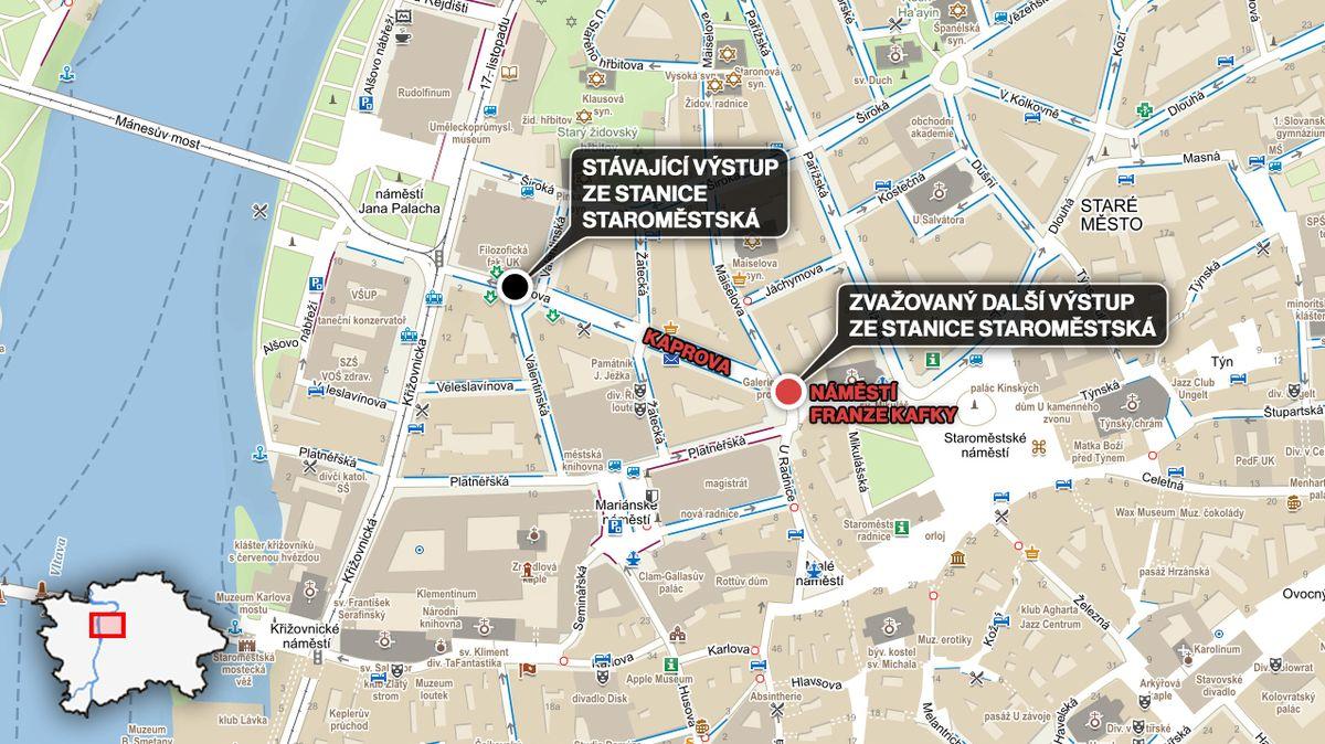 Praha zváží vybudování nového výstupu z metra Staroměstská