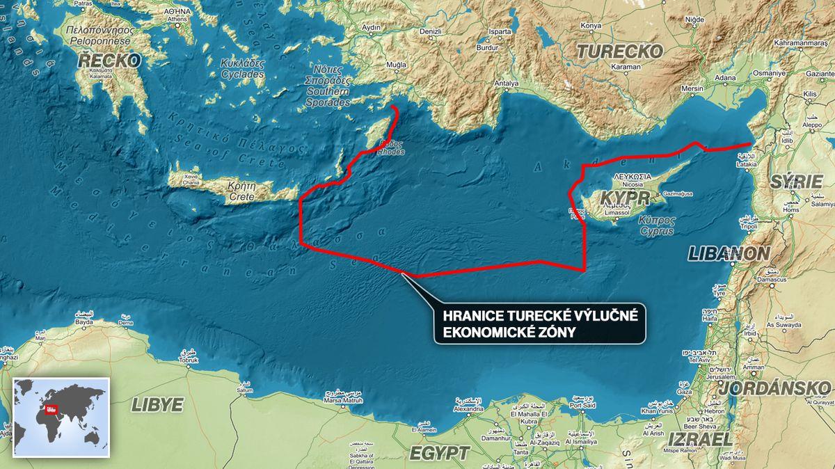 Turecko si klade nároky na rozsáhlé oblasti Středozemního moře na úkor Kypru a Řecka