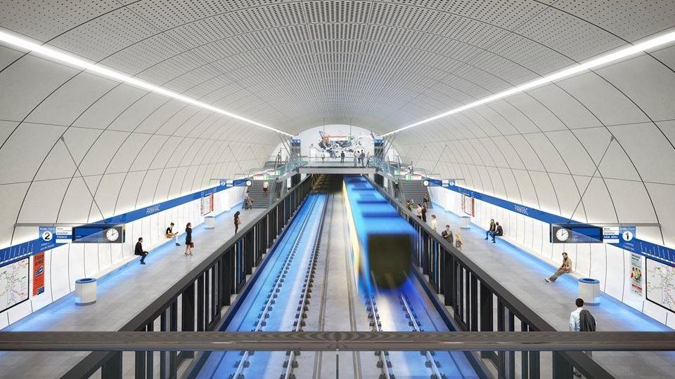 Vizualizace stanice Pankrác na trase D
