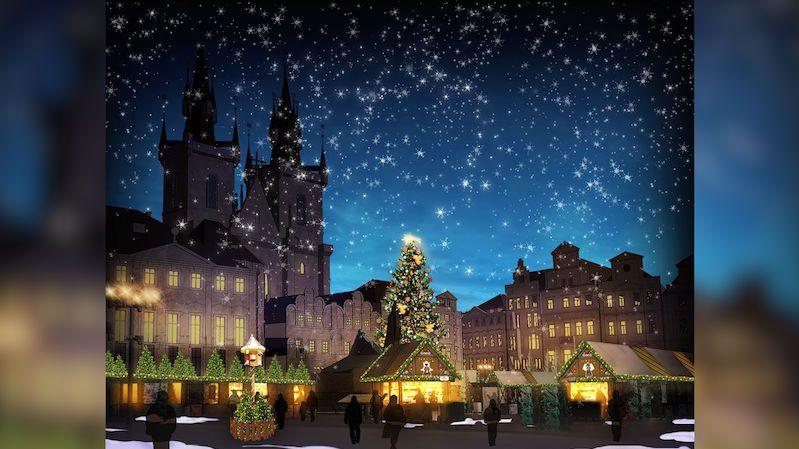 Staroměstské náměstí v Praze rozzářil vánoční strom
