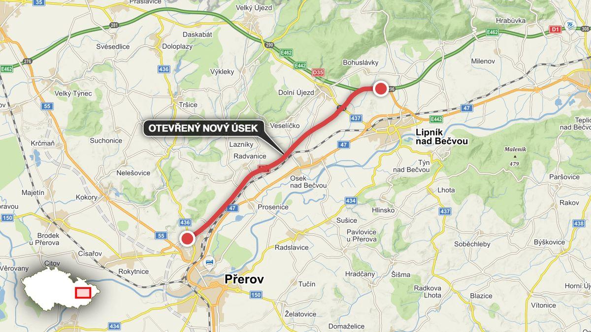 Na Přerovsku otevřeli nový úsek dálnice D1