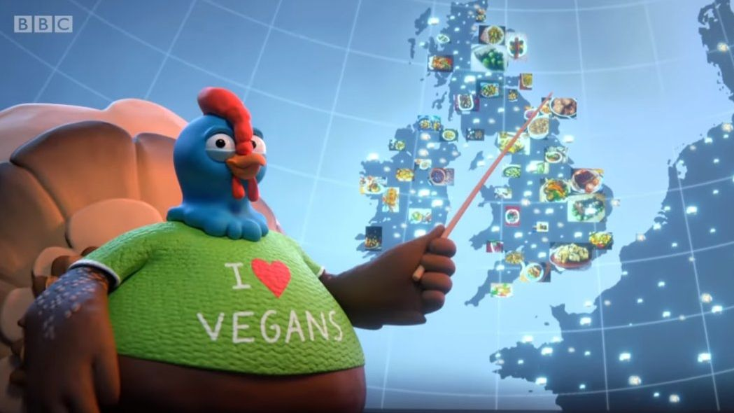 Drůbežáři se čílí, ve vánočním klipu BBC mají krocani trička oslavující veganství