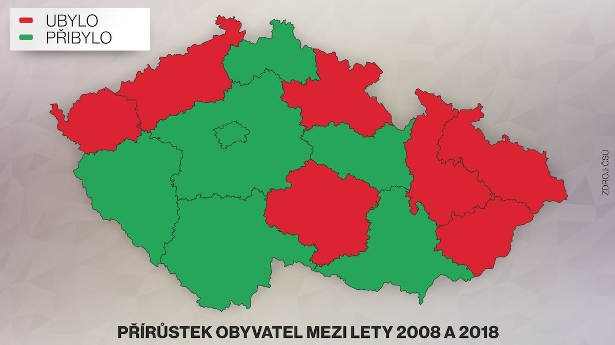 Počet obyvatel v ČR roste, lidé však přibývají jen někde, ukázali statistici