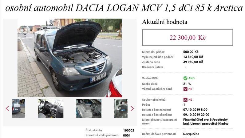 Ojetá Dacia za 22 tisíc. Berňák spustil elektronické aukce zabavených věcí