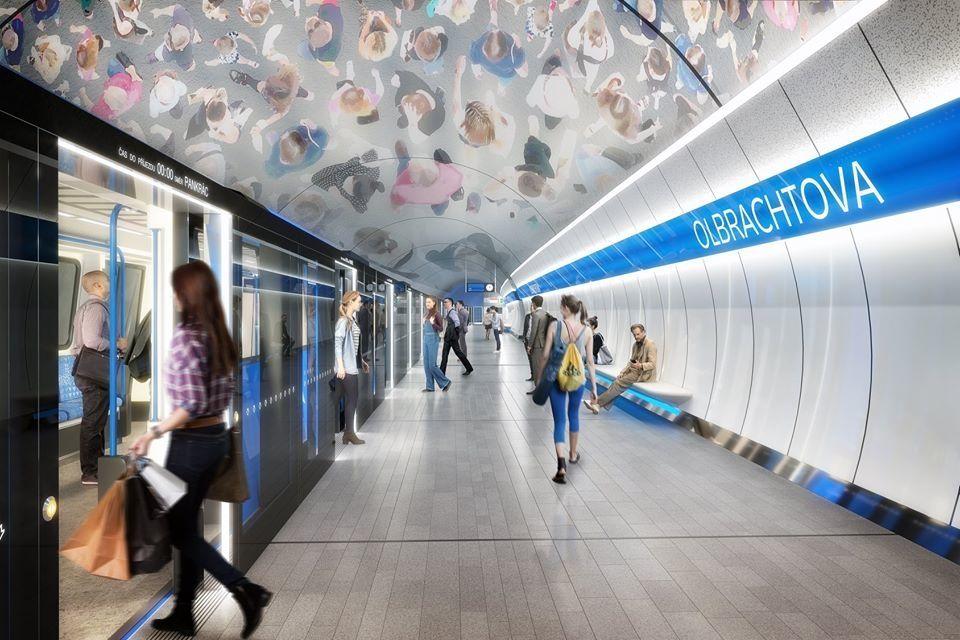 Vizualizace nástupiště ve stanici Olbrachrova