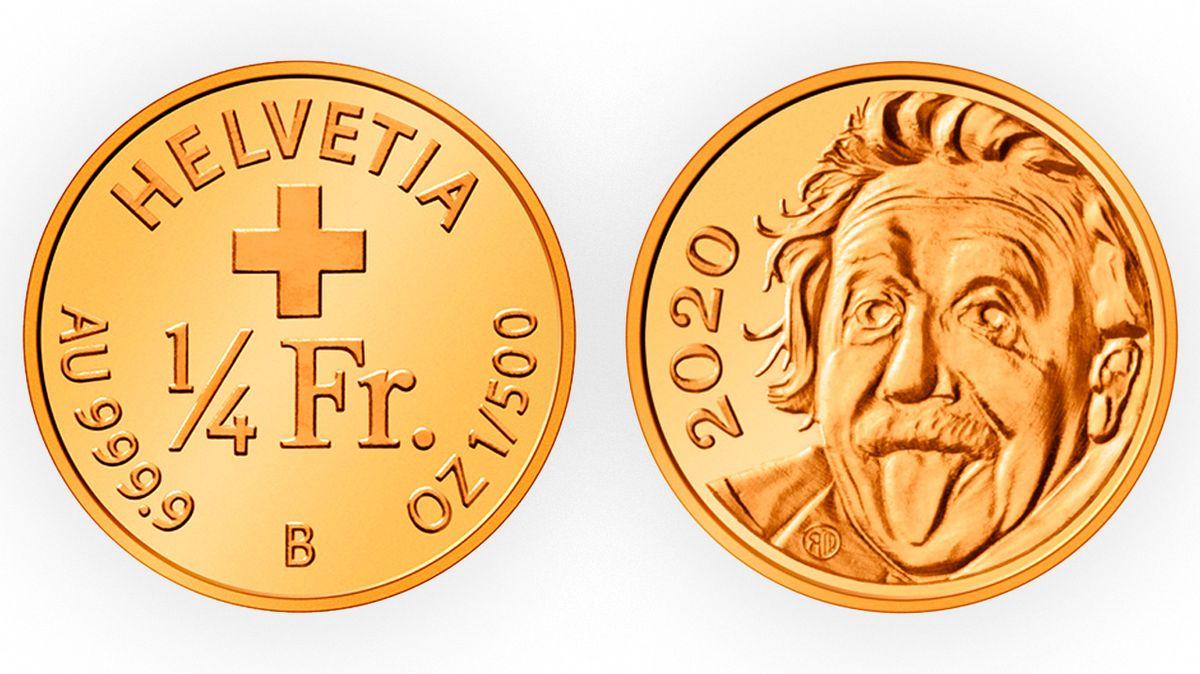 Ve Švýcarsku vyrazili nejmenší zlatou minci světa. Einstein na ní vyplazuje jazyk