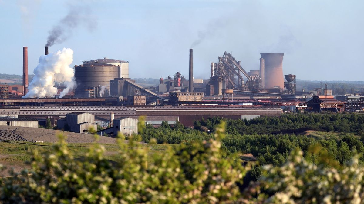 Továrna British Steel ve Scunthorpe v Lincolnshire