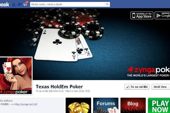 Texas Holdem poker na Facebooku