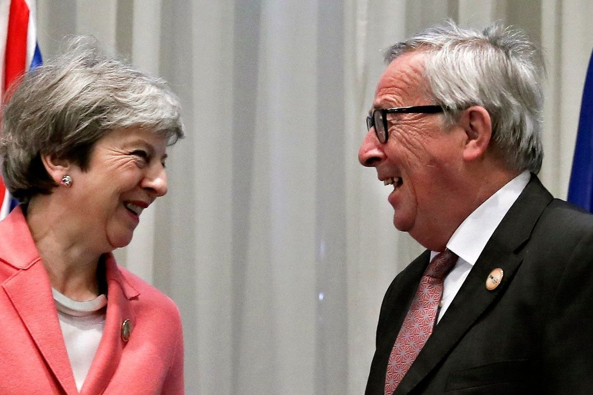 Theresa Mayová a Jean-Claude Juncker, únor 2019