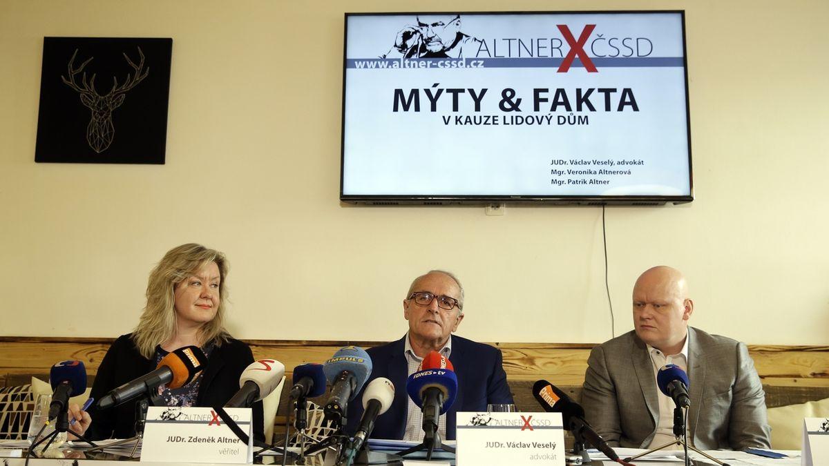 Soudkyně: Žaloba Altnerových dědiců v milionovém sporu s ČSSD je oprávněná