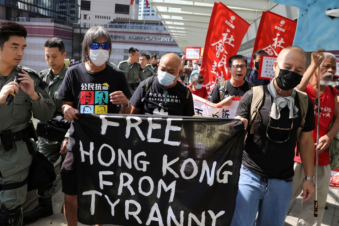 Demonstranti v Hongkongu