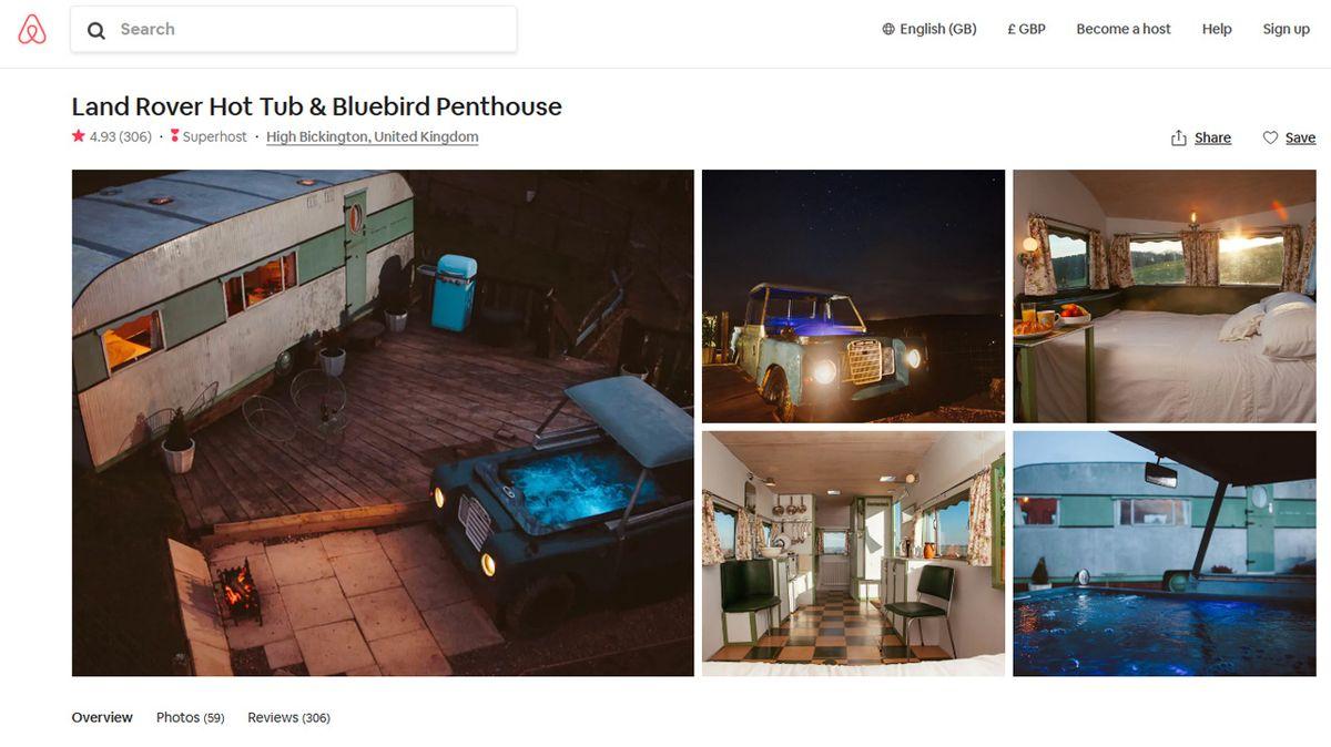Motoristovo ubytování snů: Starý Land Rover jako vířivka a stylový karavan