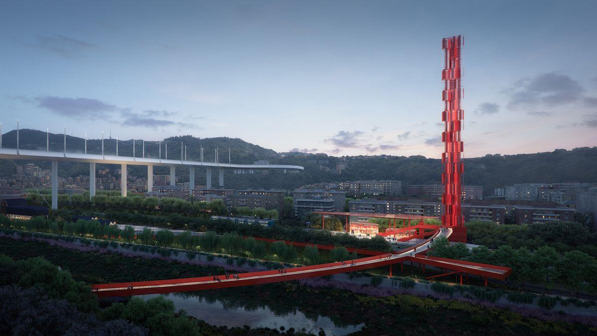 Ústředním prvkem janovského údolí, kde se zřítil most, bude červený ocelový kruh