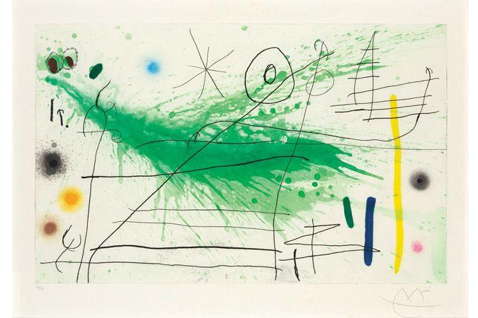 Malíř Joan Miró pracuje především s jednoduchými liniemi (Partie de Campagne III, 1967).