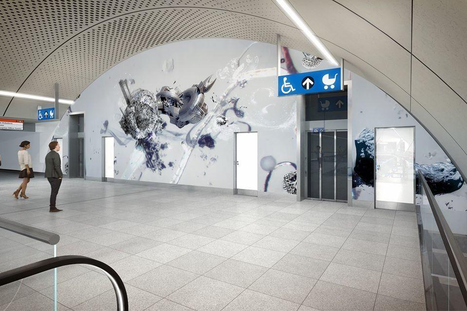 Vizualizace stanice Pankrác s motivy Jakuba Nepraše