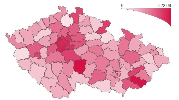 Koronavirová mapa: Praha už není nejhorším regionem