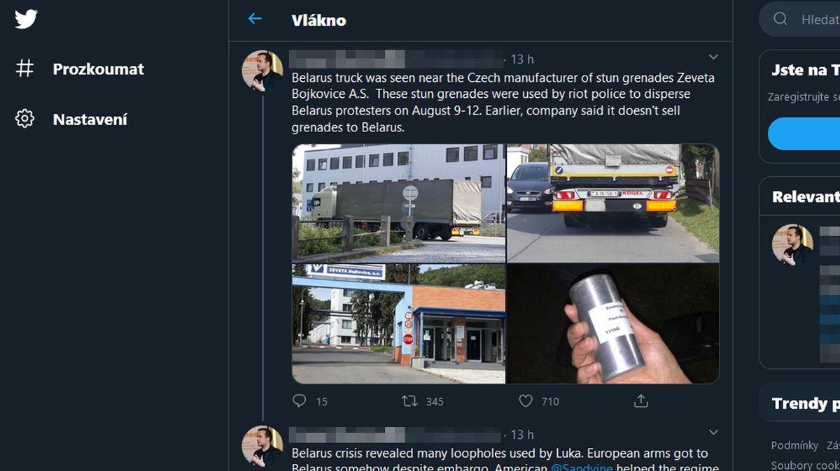 Běloruský kamion u české firmy vyrábějící výbušniny? Jel jinam, odmítá společnost spekulace