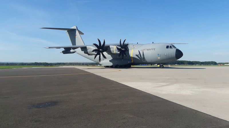 V Ostravě přistál obří německý airbus