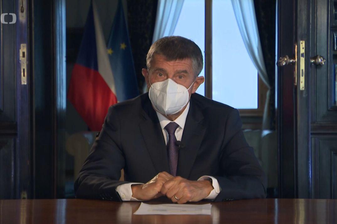 Andrej Babiš při televizním projevu k občanům
