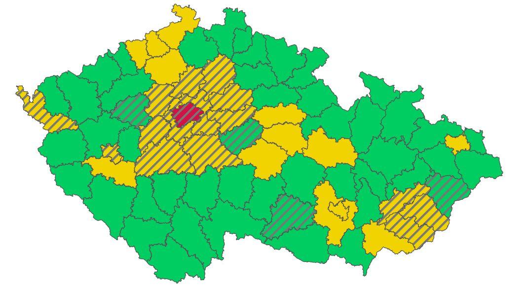 Aktualizovaný semafor: Praha dál červená, přibylo oranžových okresů