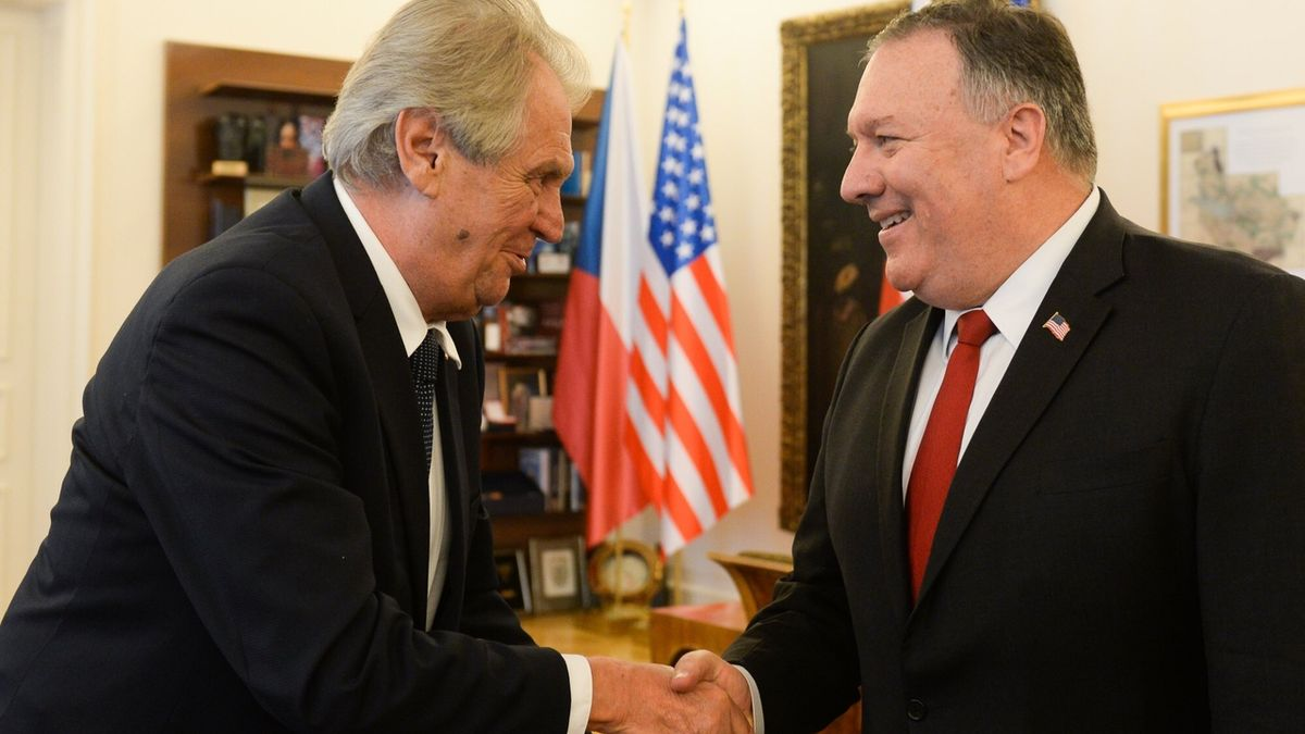 Zeman s ministrem USA Pompeem řešil vzájemné vztahy a obchod