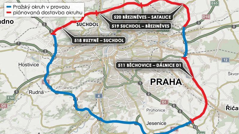 Stát chce začít výkup pozemků pro Pražský okruh