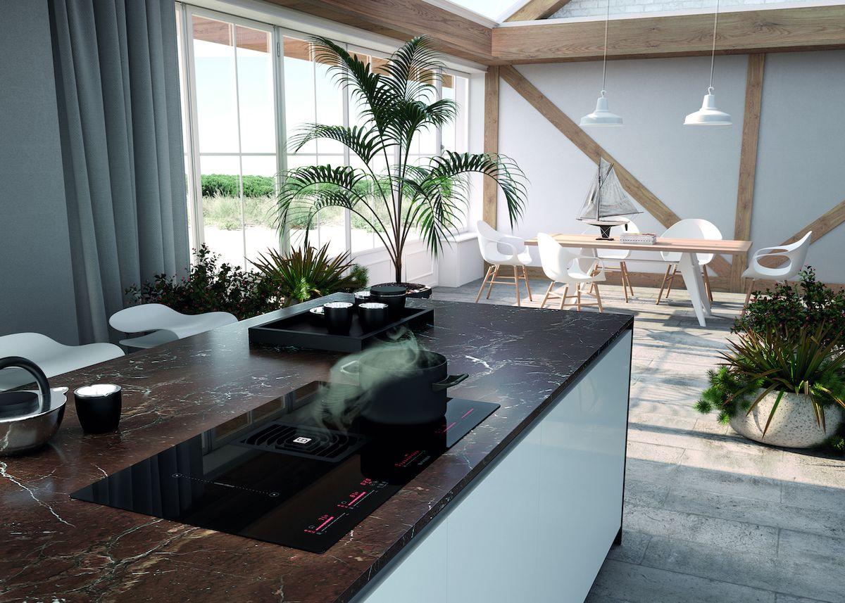 Dva v jednom. Faber Galileo Glass BK je moderní spotřebič, který v sobě ukrývá hned dva nepostradatelné kuchyňské pomocníky – indukční varnou desku a digestoř.
