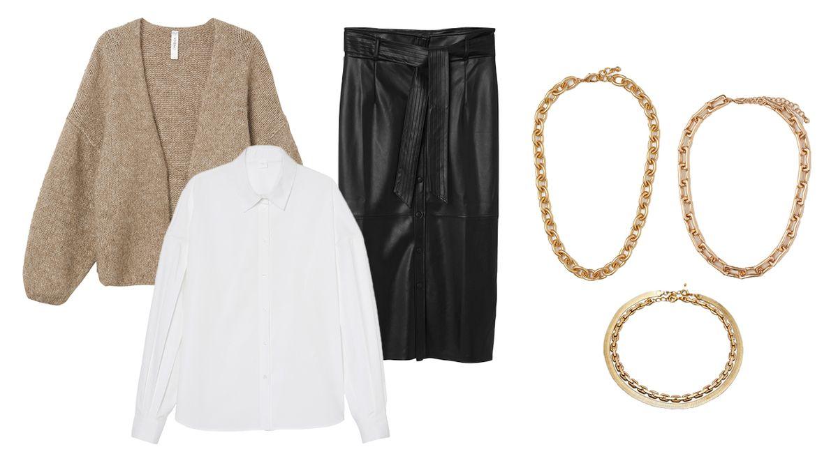 Zleva: Kardigan, Lindex, 999 Kč. Košile, Lindex, 899 Kč. Sukně, Lindex, 999 Kč. Náhrdelník nalevo, H&M, 349 Kč. Náhrdelník napravo, H&M, 399 Kč. Náhrdelník dole, Zara, 399 Kč