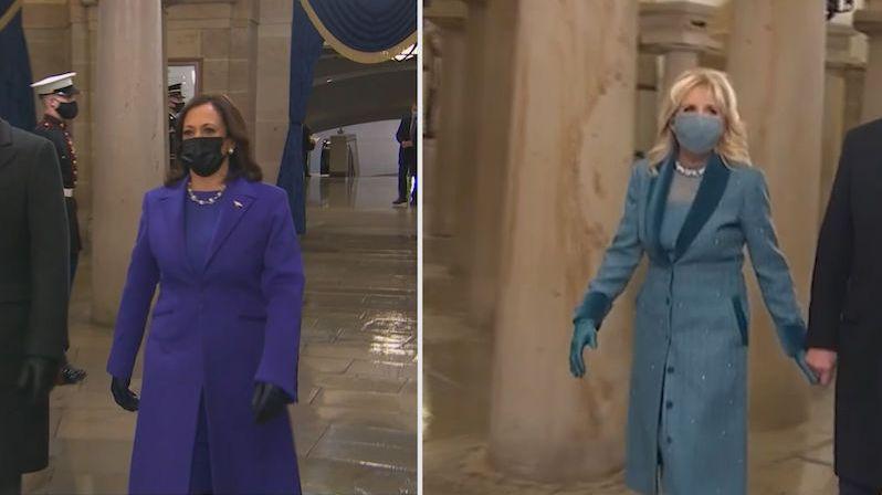 Jaká poselství stojí za šaty Kamaly Harrisové a Jill Bidenové
