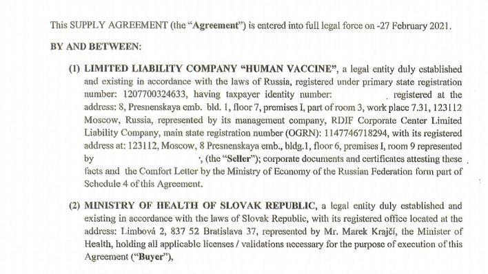 Na Slovensku zveřejnili smlouvu k nákupu Sputniku V