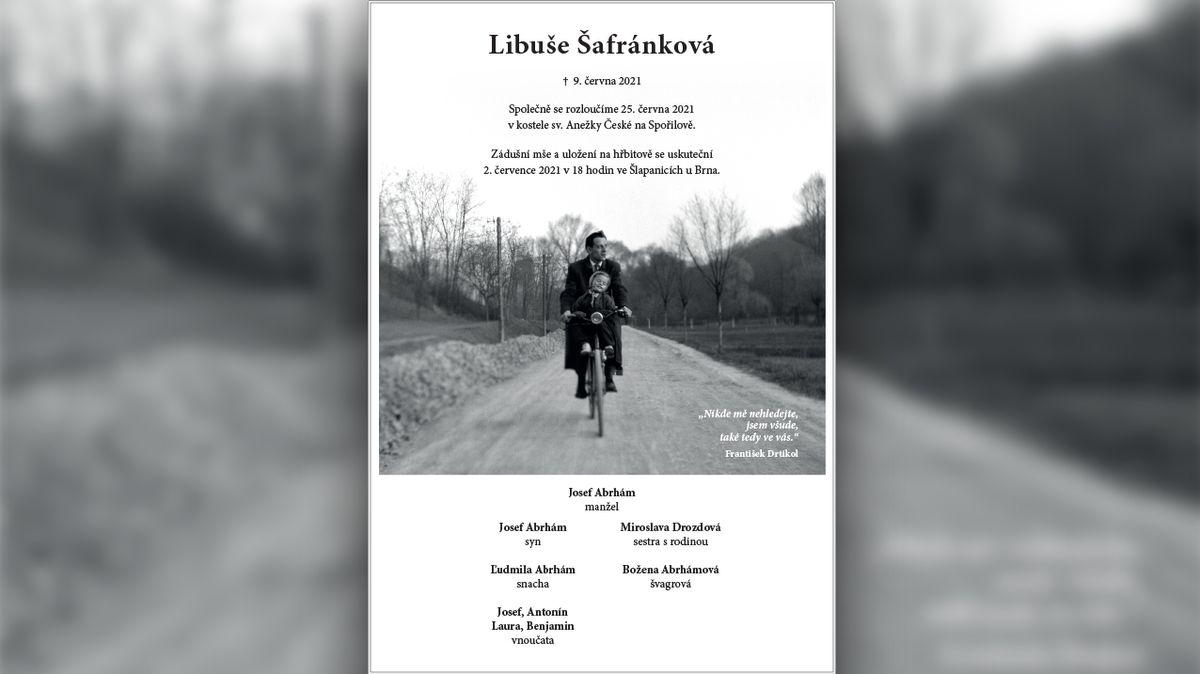 Rodina zveřejnila nevšední parte Libuše Šafránkové