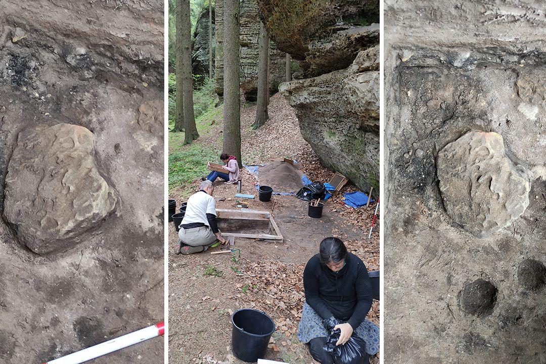 Ohniště s kamenem a kůlovými jamkami před (vlevo) a po preparaci (vpravo) v převisu Dóm. Uprostřed je fotografie archeologického výzkumu v převisu Dóm.