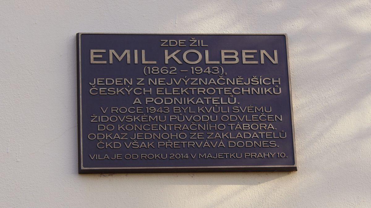 Pamětní deska na Kolbenově vile