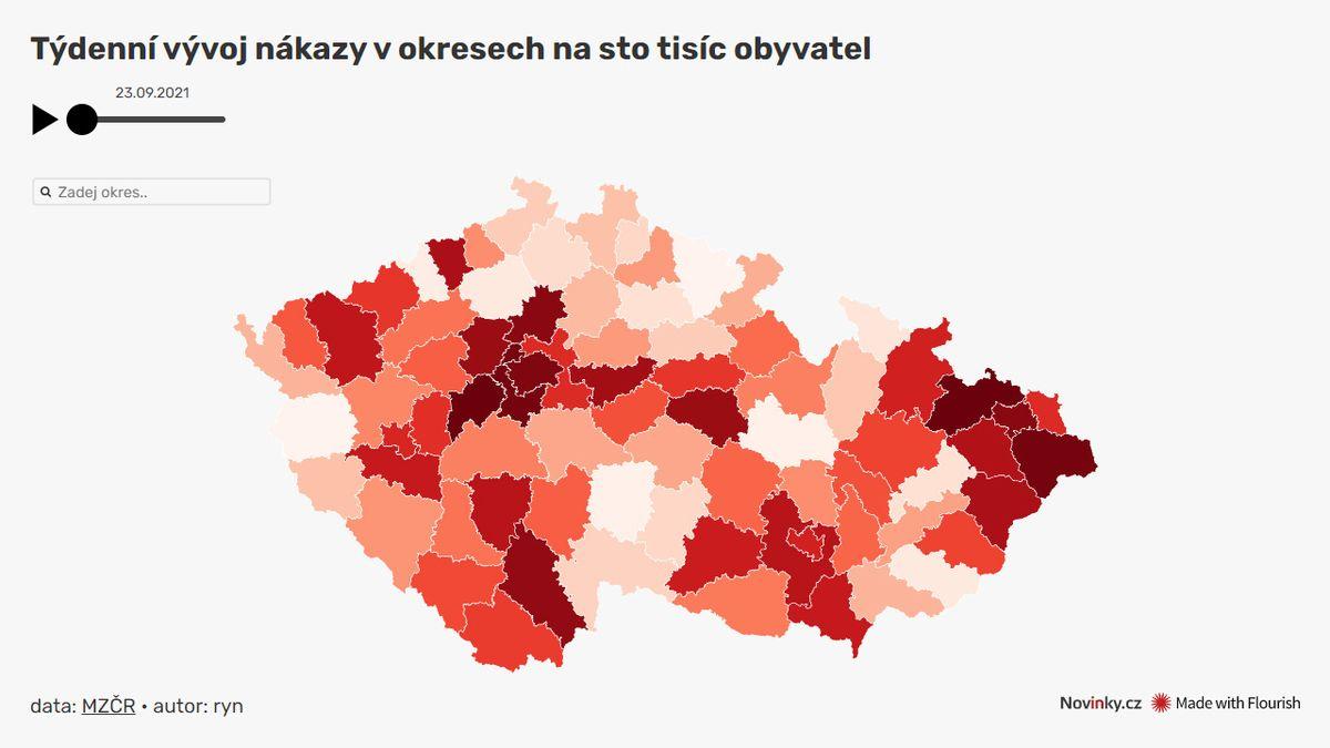 Koronavirová mapa: Česku to tentokrát kazí Opava