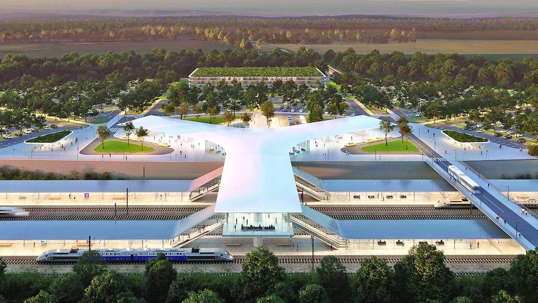 Takhle má vypadat nový terminál vysokorychlostní železnice u Prahy
