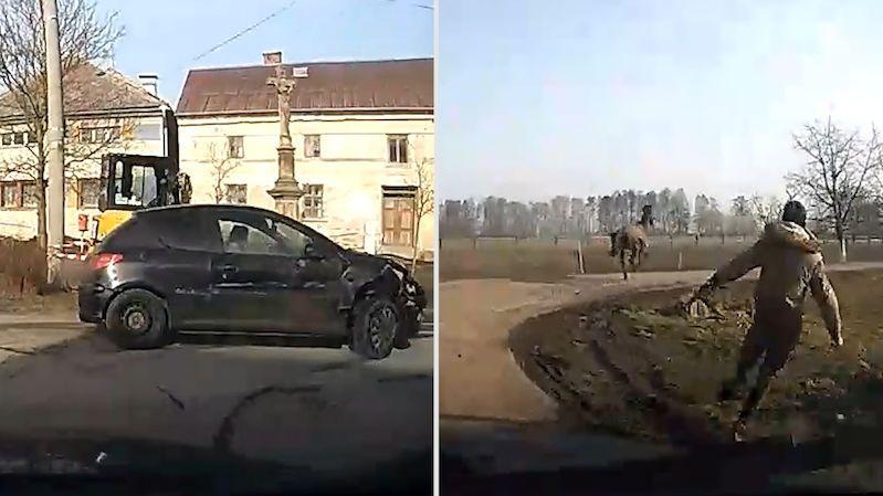 Policie na Olomoucku pronásledovala řidiče. Zdrogovaný boural, zranil ženu a splašil koně