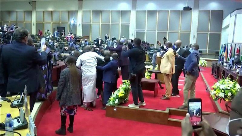 V Panafrickém parlamentu se strhla při hlasování rvačka