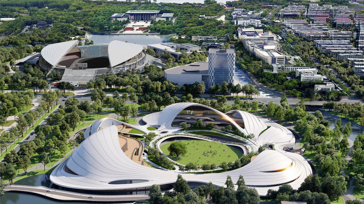 Občanské centrum připomíná veliká vlaštovčí hnízda položená na zem