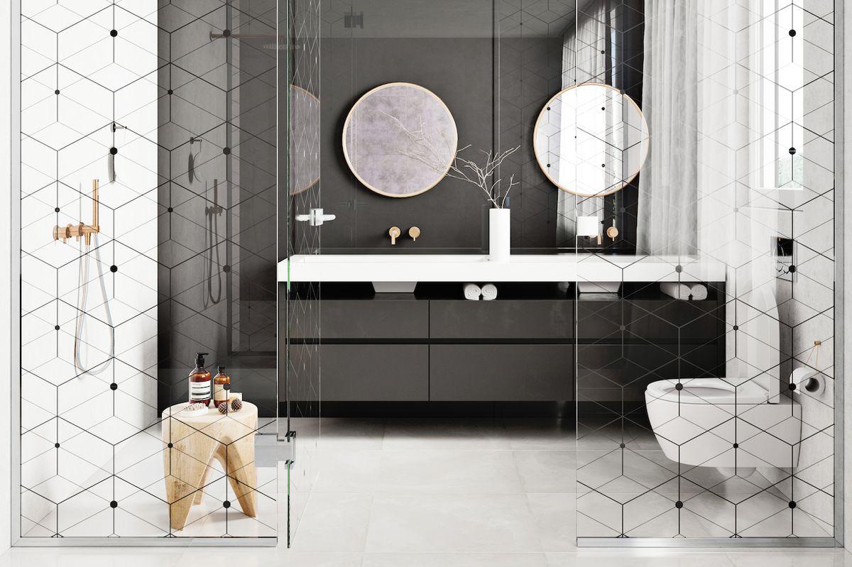 Obklad nemusí být jen keramický. Alternativou může být některý z moderních materiálů, například černé lakované sklo.