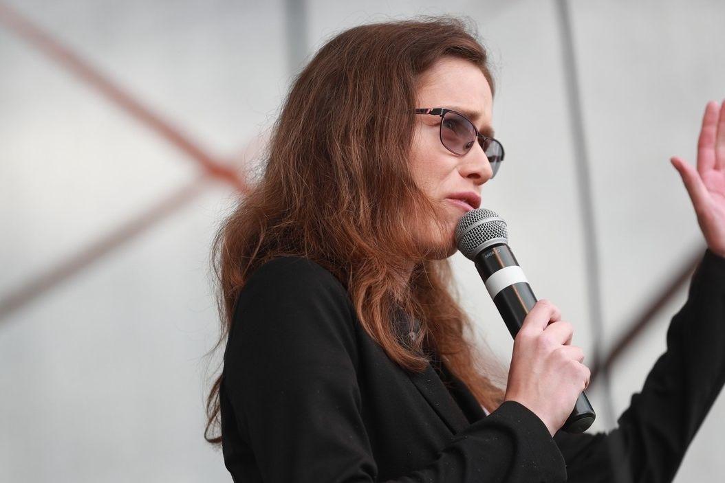 Hana Lipovská na mítinku Volného bloku