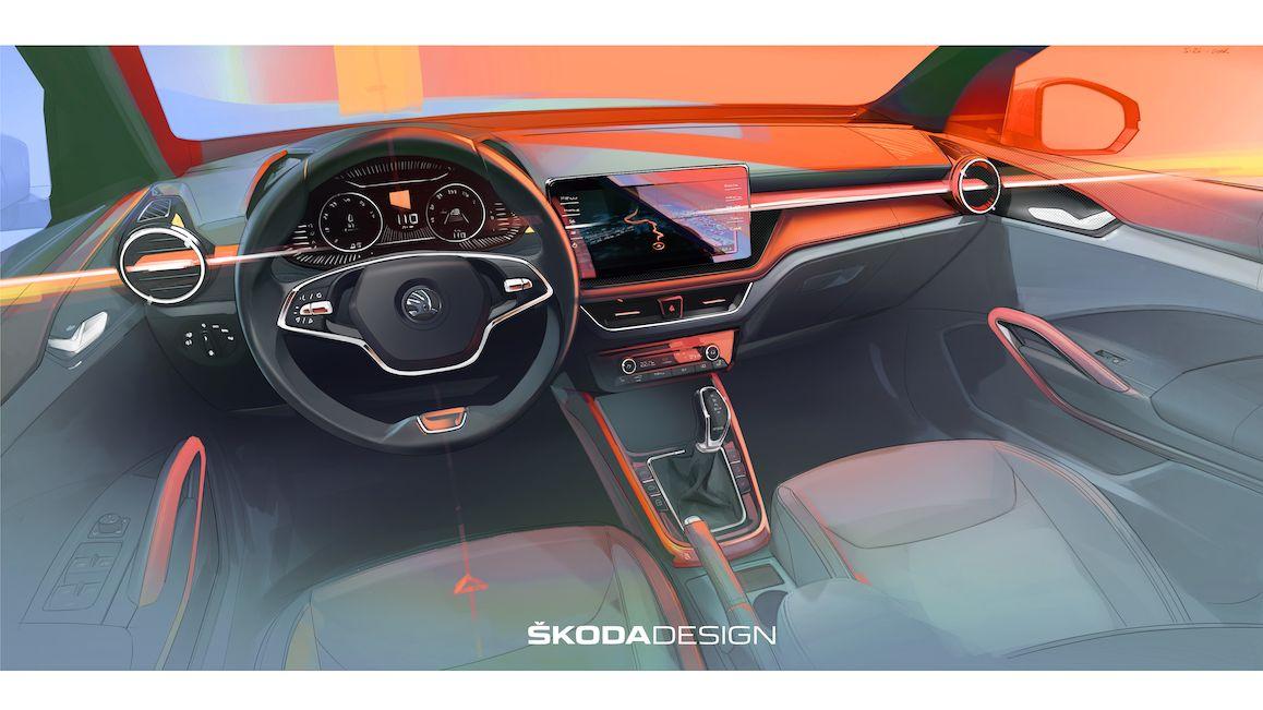 Škoda Fabia ukazuje interiér, nové logo modelu nepřehlédnete