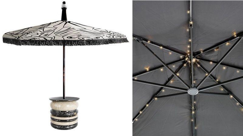 Slunečník může sloužit i jako stolek nebo večerní dekorativní osvětlení