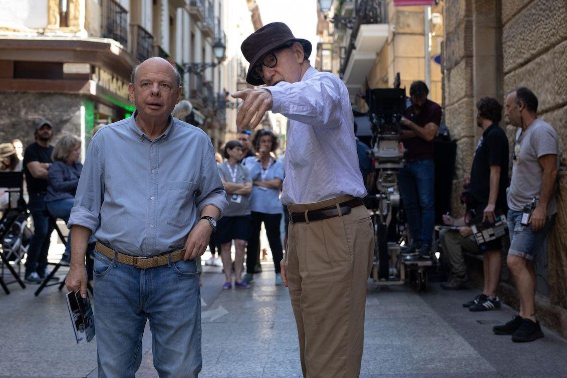 Wallace Shawn a Woody Allen při natáčení.