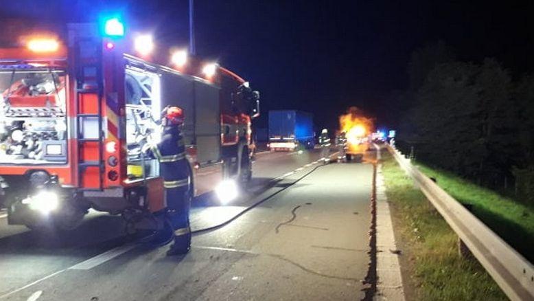 Požár kamionu na Břeclavsku
