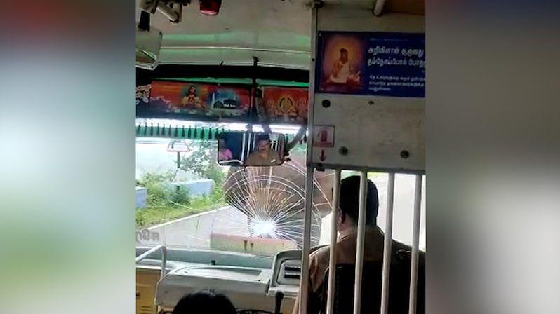 Rozhněvaný slon rozbil kly čelní sklo autobusu, řidič zůstal ledově klidný