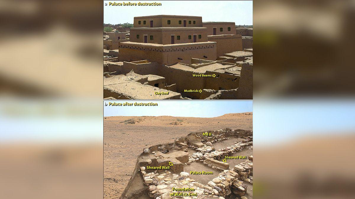 Ilustrační pohled na palác před a po zničení