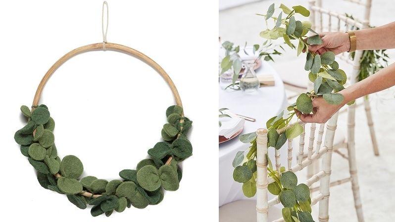 Eukalyptus je ideální rostlinou pro trendy svatební interiérové aranžmá