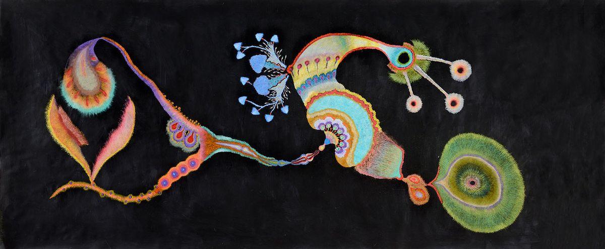 """""""Vzala jsem černé papíry a olejové pastely a nakreslila sérii rostlin a mořských bytostí. Na černém podkladu jsem postupně začala zase vidět barvy a propadla jsem naprosto kouzlu láčkovců, mlžů, plžů, hlavonožců, medúz…"""""""